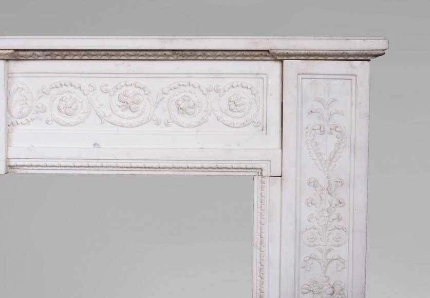 Carrara marble mantel with Vulcan's forge cartouche-10