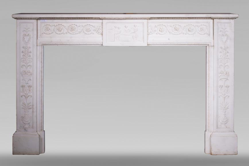 Carrara marble mantel with Vulcan's forge cartouche-0