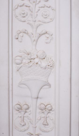 Carrara marble mantel with Vulcan's forge cartouche-7