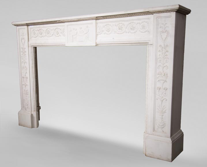 Carrara marble mantel with Vulcan's forge cartouche-9