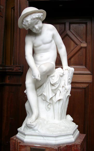 « LE PETIT PECHEUR » Marble Statue  by Janson exhibited at the Salon of 1859-0
