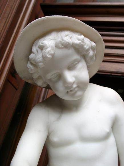 « LE PETIT PECHEUR » Marble Statue  by Janson exhibited at the Salon of 1859-1