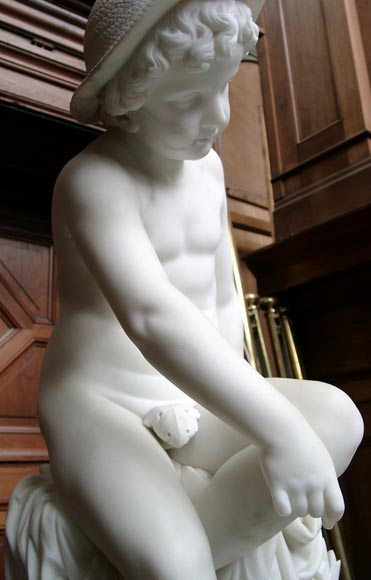 « LE PETIT PECHEUR » Marble Statue  by Janson exhibited at the Salon of 1859-4