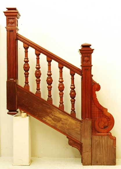 Mahogany Newel Post And Staircase Late 19th Century