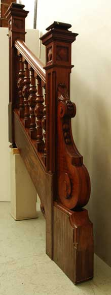 Mahogany newel post and staircase late 19th century.-1