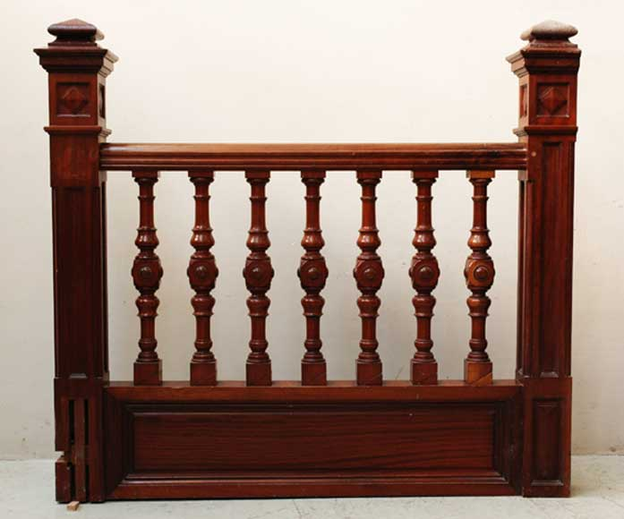 Mahogany newel post and staircase late 19th century.-2