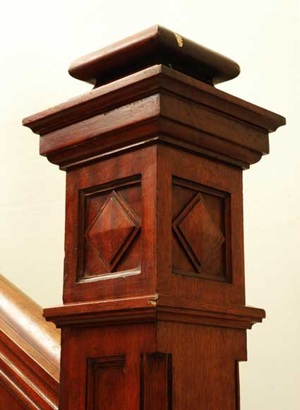 Mahogany newel post and staircase late 19th century.-6