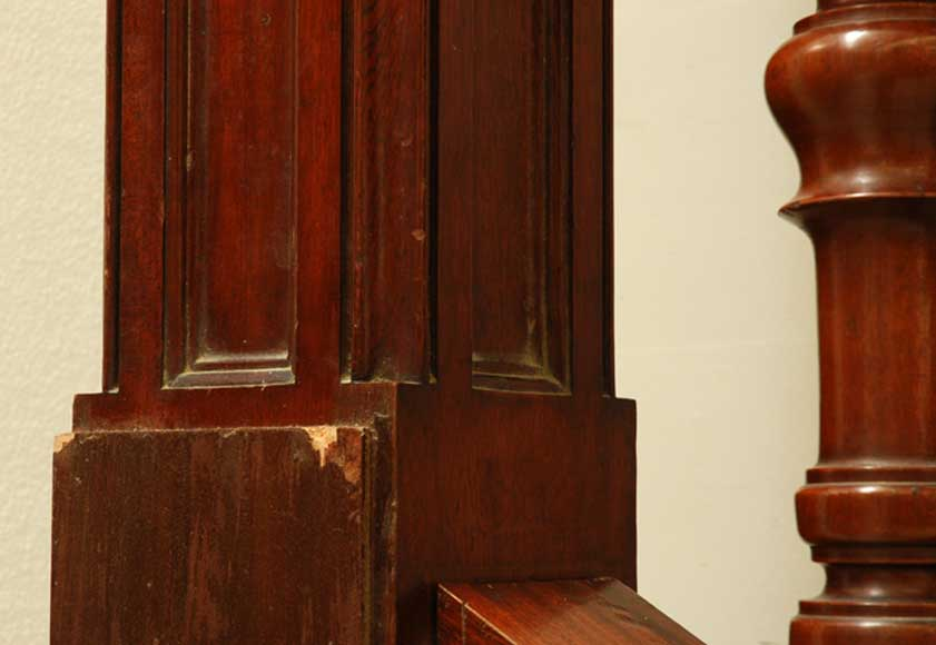 Mahogany newel post and staircase late 19th century.-7