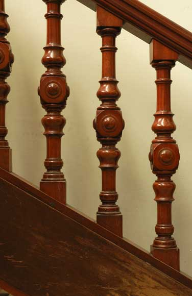 Mahogany newel post and staircase late 19th century.-8