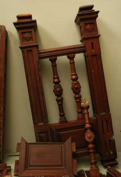 Mahogany newel post and staircase late 19th century.-13