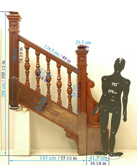 Mahogany newel post and staircase late 19th century.-17