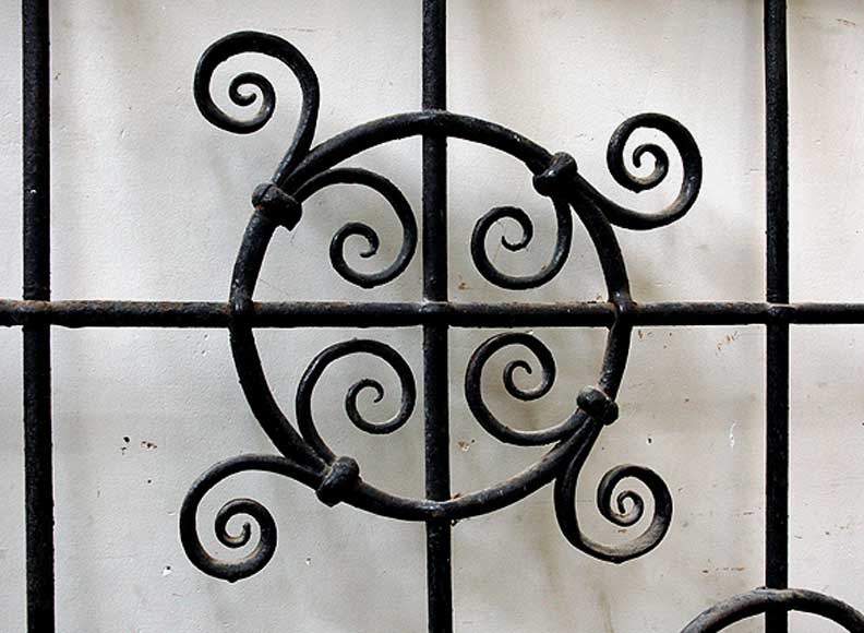 Pair Of Square Wrought Iron Windows Monumental And
