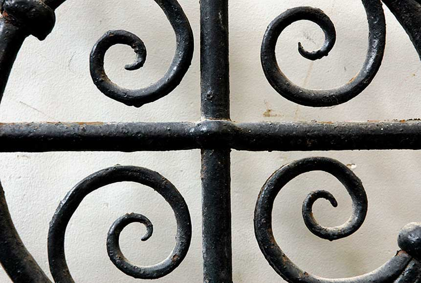 Pair of square wrought iron windows-2