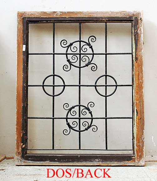 Pair of square wrought iron windows-12