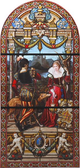 « Leaving for the Hunt , Important enamelled stained glass window by Maison Lorin coming from the Château des Ollières in Nice, France - Reference 0962