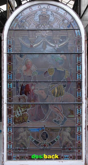 « Leaving for the Hunt , Important enamelled stained glass window by Maison Lorin coming from the Château des Ollières in Nice, France-10