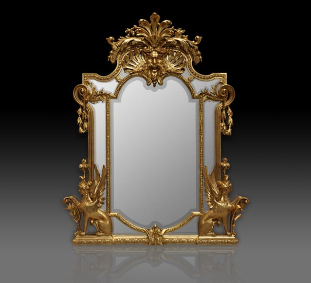 Gilded Napoleon III style mirror with sphinxes and Satyr decor - Reference 10001