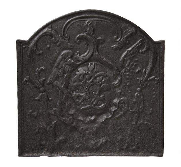 Antique cast iron fireback with monogram - Reference 10004