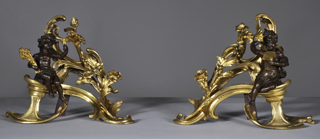 Beautiful pair and antique Louis XV period andirons with Summer Allegories made out of gilded bronze and brown patina bronze-0