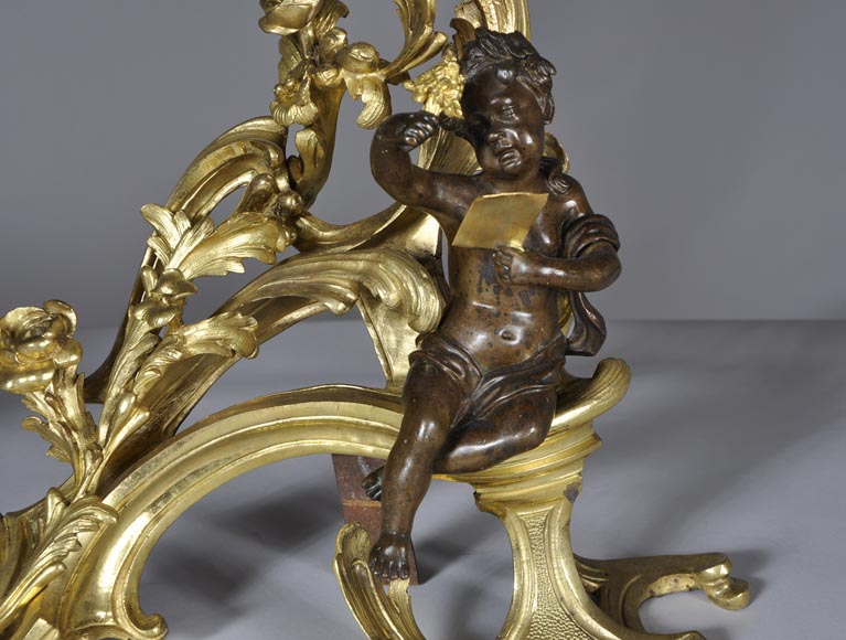Beautiful pair and antique Louis XV period andirons with Summer Allegories made out of gilded bronze and brown patina bronze-5