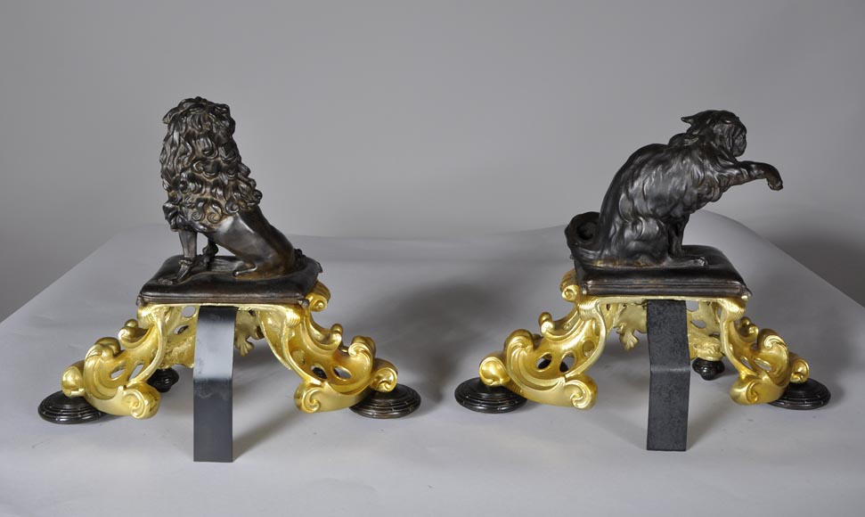 Antique pair of gilded bronze and brown patina bronze andirons with cat and dog decor-6
