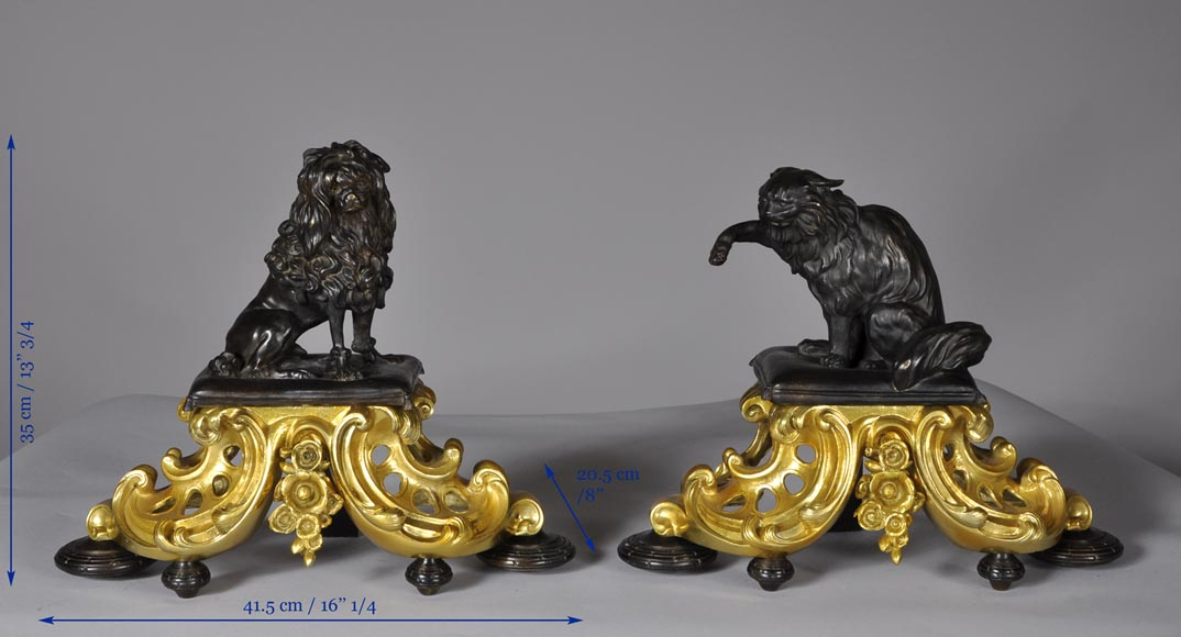 Antique pair of gilded bronze and brown patina bronze andirons with cat and dog decor-7