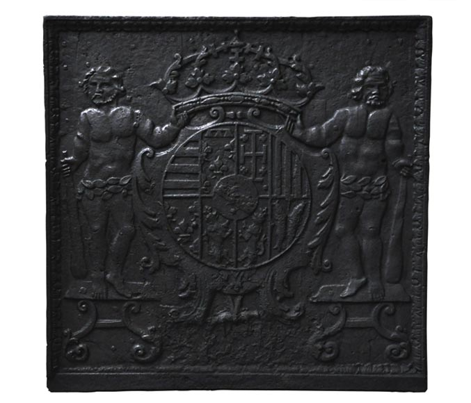 Antique cast iron fireback with Leopold the First, Duke of Lorraine, coat of arms-0