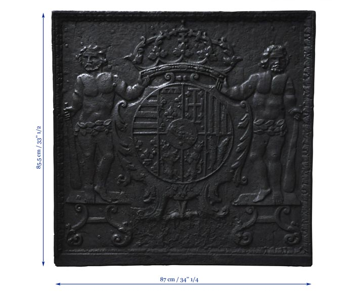 Antique cast iron fireback with Leopold the First, Duke of Lorraine, coat of arms-6