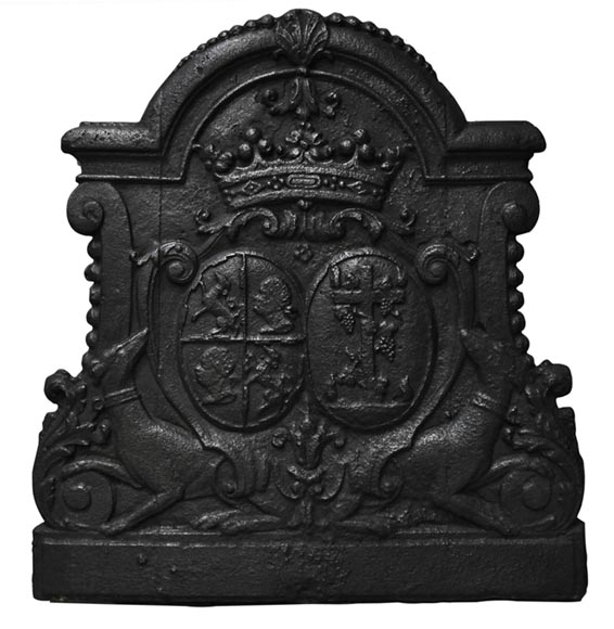 Antique cast iron fireback with wedding coat of arms of Gilles Brunet, Marquis of la Palisse, and Françoise-Suzanne Bignon-0