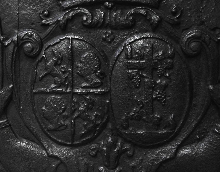 Antique cast iron fireback with wedding coat of arms of Gilles Brunet, Marquis of la Palisse, and Françoise-Suzanne Bignon-1