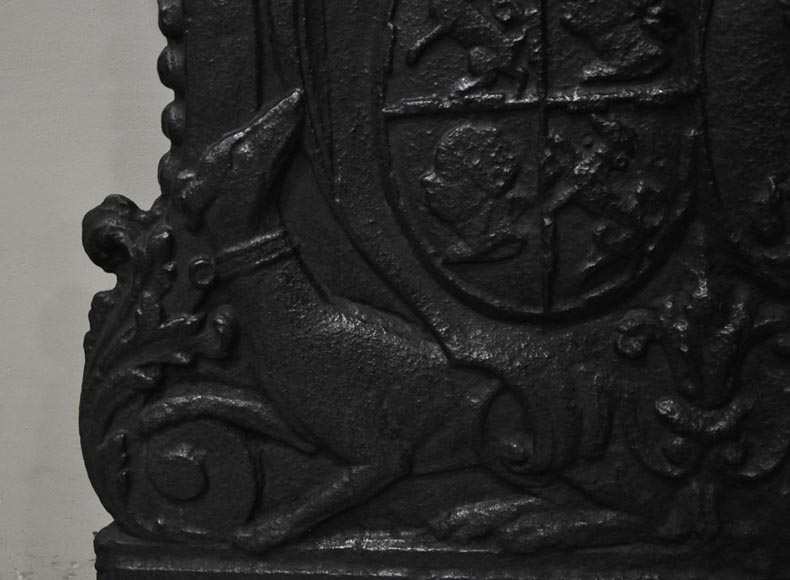 Antique cast iron fireback with wedding coat of arms of Gilles Brunet, Marquis of la Palisse, and Françoise-Suzanne Bignon-4