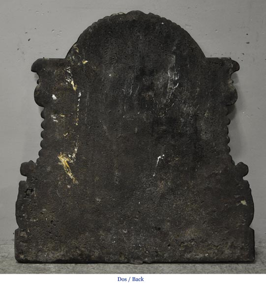 Antique cast iron fireback with wedding coat of arms of Gilles Brunet, Marquis of la Palisse, and Françoise-Suzanne Bignon-5