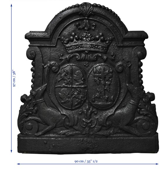 Antique cast iron fireback with wedding coat of arms of Gilles Brunet, Marquis of la Palisse, and Françoise-Suzanne Bignon-6