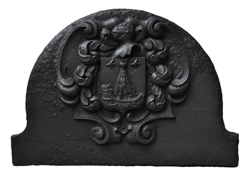 Beautiful curved cast iron fireback with Paris coat of Arms-0