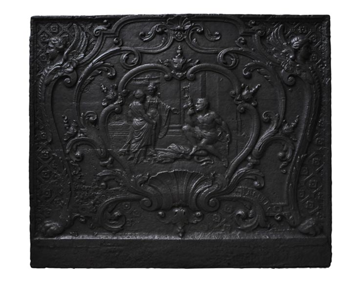 """Hercules spinning at Omphale's feet,"" antique fireback - Reference 10057"
