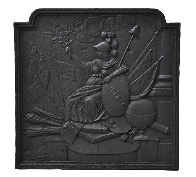 """Freedom giving Peace"", antique cast iron fireback - Reference 10058"