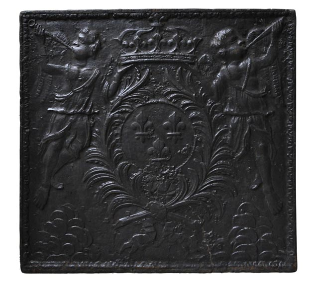 Antique cast iron fireback with French coat of Arms and angels-0