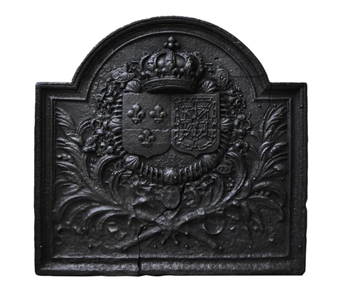 Antique fireback with France and Navarre coat of arms-0