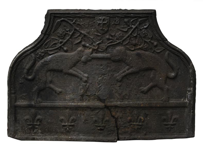 Antique cast iron fireback from the 16th century with Jacques de Bourgoing coat of arms - Reference 10062