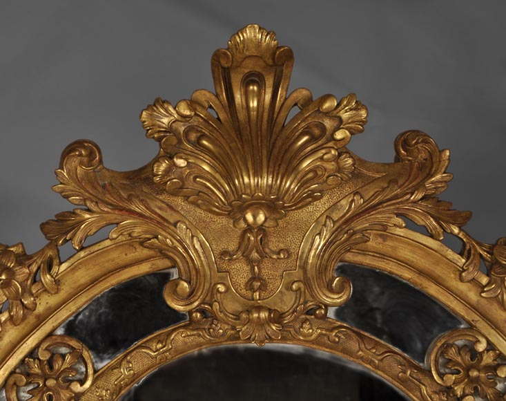 Beautiful antique Regency style mirror, Napoleon III period, made out of carved and gilded wood with espagnolettes decor-1