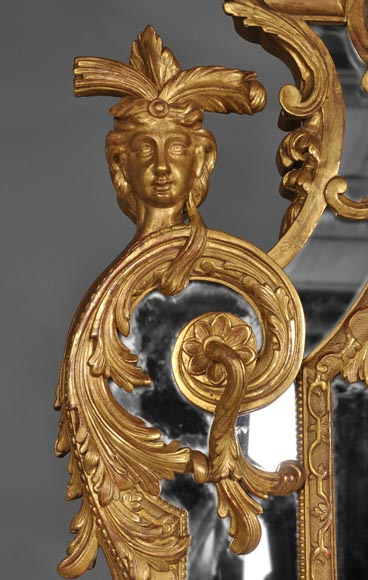 Beautiful antique Regency style mirror, Napoleon III period, made out of carved and gilded wood with espagnolettes decor-3