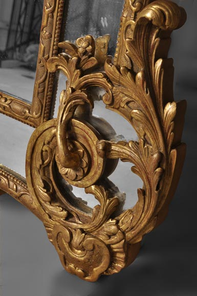 Beautiful antique Regency style mirror, Napoleon III period, made out of carved and gilded wood with espagnolettes decor-6