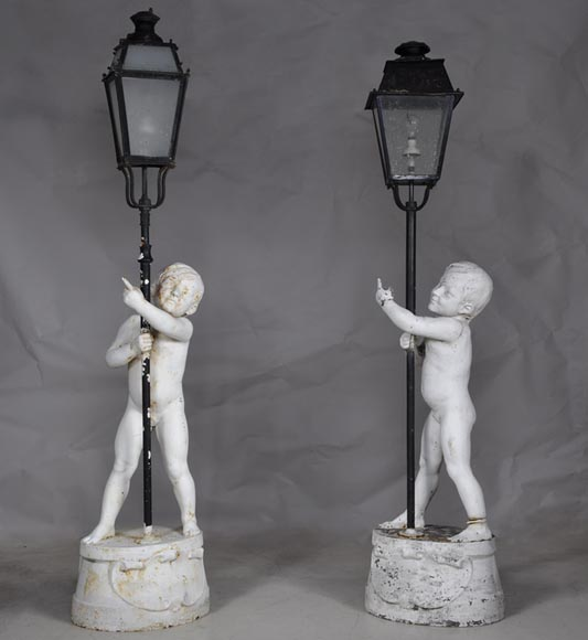 Pair of cast iron garden lamps by the BRICHET MIETTE ET CIE foundry manufacture - Reference 10086