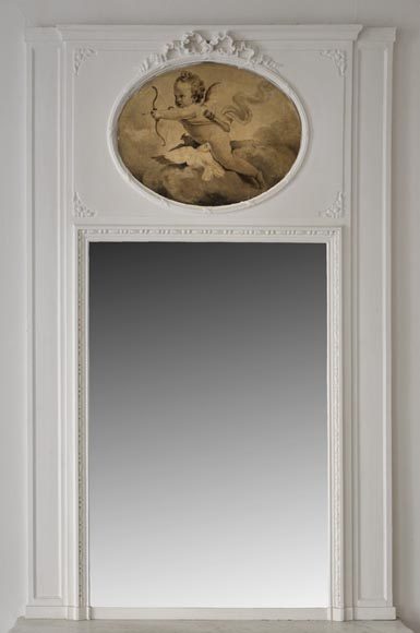 Antique pier glass with grisaille painting depicting a cherub-0