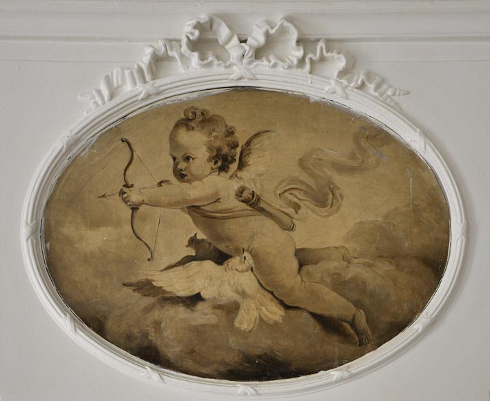 Antique pier glass with grisaille painting depicting a cherub-1