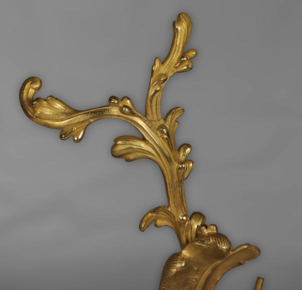 Antique Louis XV style andirons made out of gilded bronze with putti decor-5