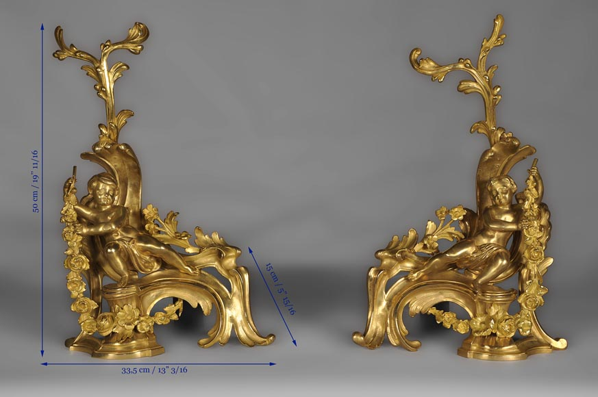 Antique Louis XV style andirons made out of gilded bronze with putti decor-9
