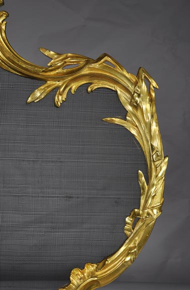Antique Rococo - Louis XV style fire screen with torch decor-4