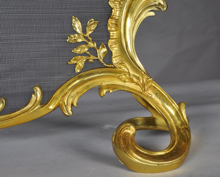 Antique Rococo - Louis XV style fire screen with torch decor-5