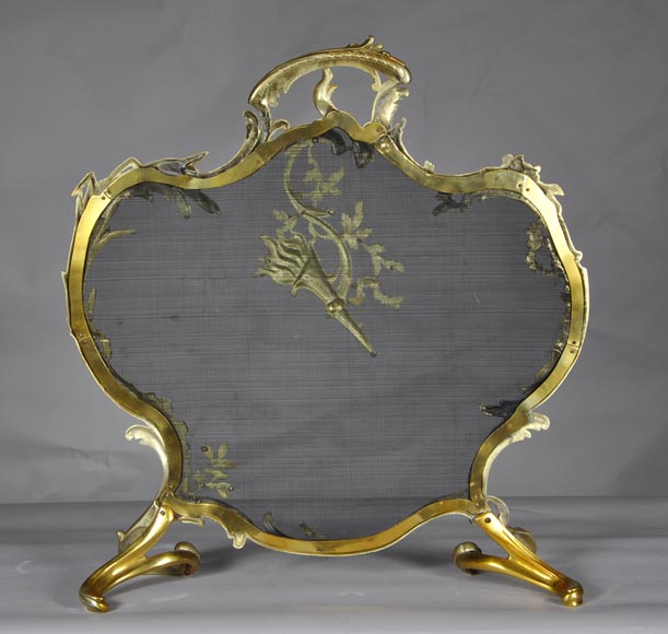 Antique Rococo - Louis XV style fire screen with torch decor-6